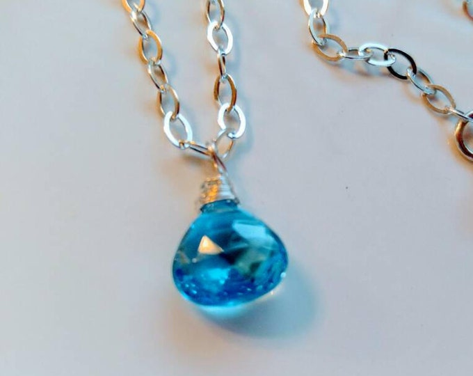 Swiss blue topaz, choker pendant necklace. Sterling silver. Handmade jewelry