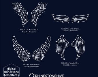 Angel wings rhinestone templates digital download, svg, eps, png, dxf