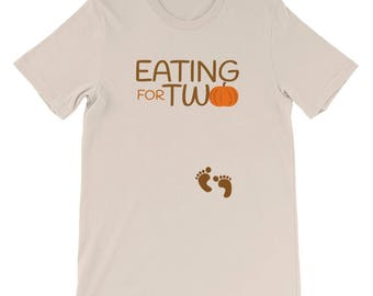 Eating For Two Pregnancy Announcement Fall Thanksgiving Short-Sleeve Unisex T-Shirt