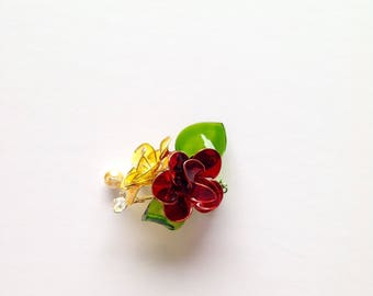 Red and yellow flower brooch, flower brooch, spring brooch, hand made flowers, jewellery, accessories, lapel flower, wedding