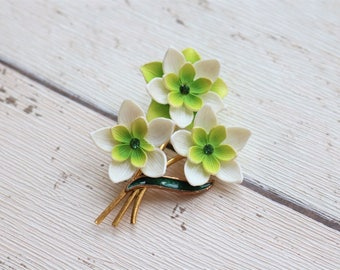 Vintage 1950s White & Lime Green Celluloid Statement Flower Brooch