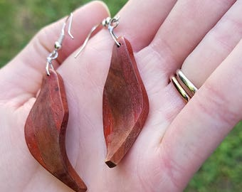 Exotic African Padauk and Brazilian Redheart Leaf Wood Earrings Wabi-Sabi