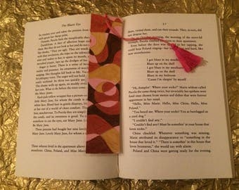 Valentine gift for a reader - hand painted book mark in shades of dark red, pink and gold, with pink tassle