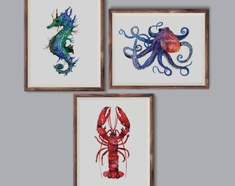 Zestaw zwierzątek morskich, Set of sea animals - illustration - print