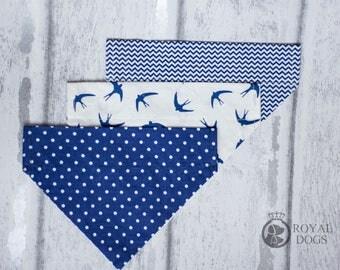 Blue Dog Bandana | Over The Collar Dog Bandana | Cotton Dog Bandana | Dot Dog Bandana | Dog Gift | Over the collar | UK