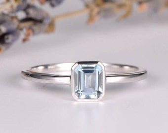 Bezel Set Engagement Ring Aquamarine White Gold Ring Emerald Cut Birthstone Ring Solitaire Wedding Bridal Simple Minimalist Promise Women