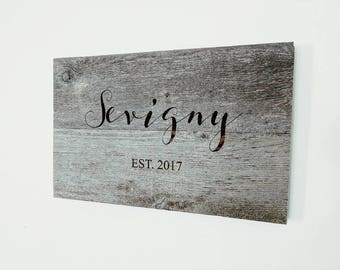 CUSTOM EST SIGN    custom wedding gift    christmas gift    personalized wood art    custom engraving    reclaimed wood sign   
