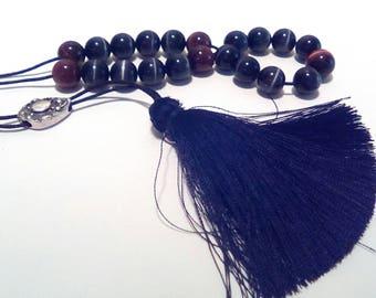 Komboloi, Greek komboloi, Komboloi beads, Worry beads komboloi, Black Cat's eye komboloi, Tiger eye worry beads, Gift for Dad, Father gift