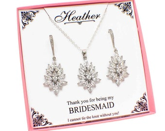 Bridal party jewelry, silver bridesmaid jewelry set, Maid of Honor jewelry, Mother of the bride gift, personalized bridesmaid gift, jewelry