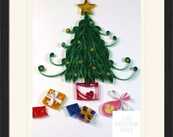 4 x 6 Personalized quilled paper Christmas art - displays gifts, presents, tree, lights. Custom color choices. Ready for framing.