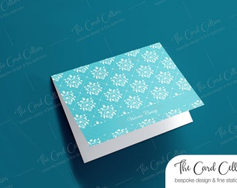 Personalized Notecard, Custom Stationery, Folded Notecard, Foldover Notecard, Thoughtful, Gift, Damask note card, Blank card