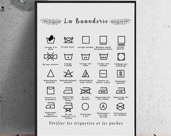 Règles de buanderie, symboles de lavage, affiche pour la lessive, symboles de buanderie, Art Print, décor moderne de maison, Noir sur Blanc