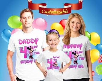 Minnie mouse shirt for family members, girl birthday gift, custom girl shirt,birthday girl gift,family matching shirts,custom girl gift