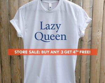 Lazy Queen T-shirt, Ladies Crewneck Heather Shirt, Funny Ladies Nap T-shirt