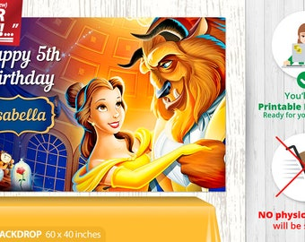 Beauty and the Beast BACKDROP, Beauty and the Beast Birthday Backdrop, Beauty and the Beast Party Backdrop, Beauty and the Beast Banner, v1g