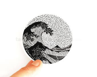 "15%OFF with code ""WINTER"" The Great Wave II. Kanagawa. Sticker. Vinyl. Art. Famous Painting. Katsushika Hokusai. Japan. Car. Macbook. ©"