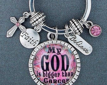 God Is Bigger Breast Cancer Awareness Encouragement Key Chain, Inspirational Christian Quote Gift,  Pink Ribbon, Believe, Faith Cross, Hope,