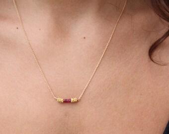 Ruby Necklace-Gold necklace-Gold Bar Necklace-Genuine Ruby-Ruby Dainty Necklace-Gold Chocker Necklace-Gold Chain Necklace-Beaded Necklace
