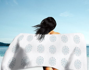 White Pattern Beach Towel, Bath Towel, Hand Towel