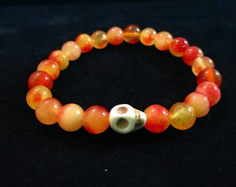 Carnelian Yellow Mix Skull Bones Orange Hippie Fun Zen Health Happy