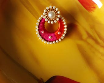 Handmade Gorgeous pink in orange chandbali silk thread earring