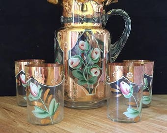 Unique Victorian Hand Pitcher with Glass Set - 4 Glasses - Hand Painted - Floral