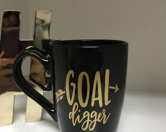 goal digger coffee mug, set goals, coffee time, coffee cup, cute coffee mug, achieving your goals, be your own boss, boss lady, dreamer