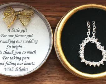 Flower Girl Gift - Heart Crystal Charm Necklace & Poem - Perfect Wedding Day Gift - Comes with Gift Box