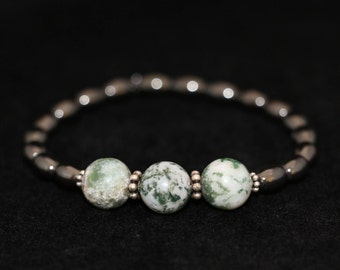 No. 21 Moss Agate, Hematite and Sterling Silver Bracelet (Handmade)