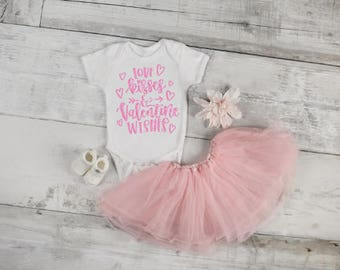 girl valentine shirt, baby first valentines outfit, love kisses and valentine wishes shirt, baby girl valentines day, girl valentines outfit