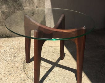 Adrian Pearsall Walnut End Table with Glass Top Craft Associates Model 2397-TE Newly Refinished