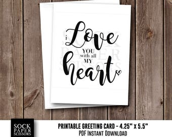 Printable Card, Greeting Card, I Love You With All My Heart, Digital Card, DIY Card Kit, Love Card with DIY Envelope, SKU RGC112