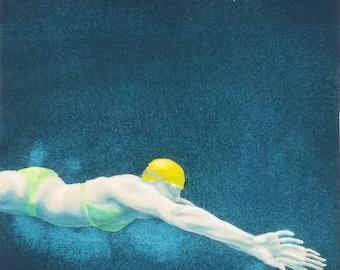 Original Art - Mini Swimmer no.25 - Painting in gouache & watercolour. Open water swimmer, diver. Artwork by Nancy Farmer