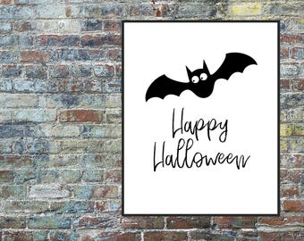 Bat Prints, Happy Halloween Print, Halloween Decor, Happy Halloween Poster Printable Art, Black Print, Digital Download, Home Wall Art Decor