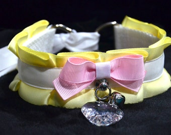 BDSM/DDLG/Kitten Play Yellow, White, and Pink Ruffle Collar with Heart Crystal and Small Bell