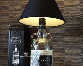 Kraken Rum Bottle Lamp With Black Shade Upcycled 70cl
