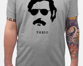 Men's t-shirt - Pablo Escobar, black on heather grey