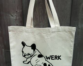 WERK French bulldog tote bag - reflective green printing, 100% heavy cotton canvas, reusable, tote bag
