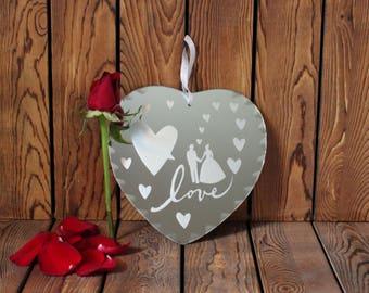 Love Mirror,Bride&Groom Mirror,Bridal Shower Gift,Wedding Gift,Wall Mirror,Hanging Mirror,Gift For Her,Valentines Gift,Anniversary Gift,Gift