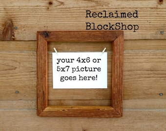 4x6 Reclaimed Wood Picture Frame, Rustic Picture Frame, Wood Picture Frame, 4x6 OR 5x7 Picture Frame, Farmhouse Picture Frame