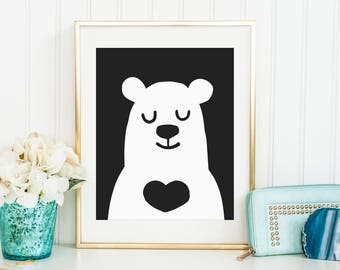 Sale 50% Off - Printable Bear art Black and White ( Baby boys room decor Instant Download kids print Poster Digital print Room Cute Animal )