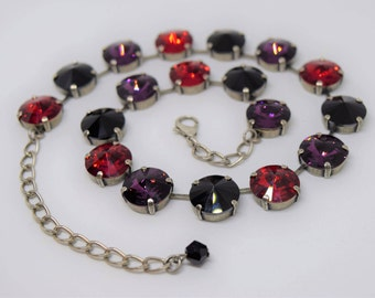 Swarovski Crystal Necklace - Jet Amethyst Siam 14mm