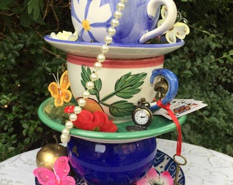 Mad Hatter.  Tea Party.  Centerpiece. Stacked cups. Party. Alice in Wonderland. Table centerpiece. Photo prop. Whimsical. Recycled.