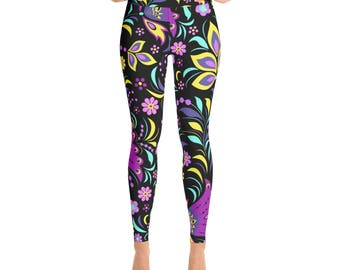 Retro Floral Yoga Leggings Printed Leggings Yoga Workout Exercise Pants Woman's Leggings Yoga Pants