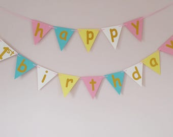 Happy 1st birthday bunting banner, birthday girl party, pastel birthday