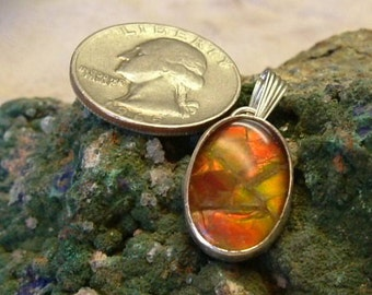 Ammolite Pendant Sterling Silver Large OOAK Boho Utah Gem Sterling Silver Statement Jewelry Handmade Statement Pendant Red Fire 025 G
