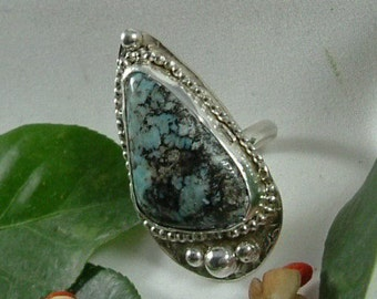 Turquoise Ring Sterling Silver Size 6 1/2 Large Natural Utah Gem Large Utah Picture Turquoise Ocean Shallows Blue Black Statement Ring  301G