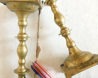 Vintage brass candlestick holder set of two,