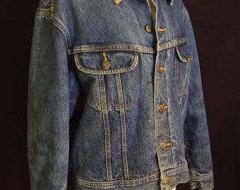 Vintage 80's Lee Blanket Lined Storm Rider Jean Jacket/ Retro Lee Riders  Jean Jacket