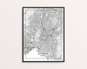 Athens City Map Print, Clean Contemporary poster fit for Ikea frame 24x34 inch, gift art for him her, Anniversary personalized travel